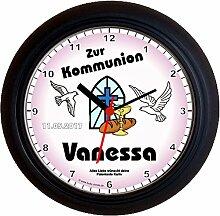 Lucky Clocks TAUBEN ZUR KONFIRMATION ROSA schöne Wanduhr für jeden Anlass mit jeder Beschriftung und jedem Vornamen Namen erhältlich