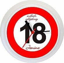 Lucky Clocks VERKEHRSZEICHEN originelle Wanduhr zum 18. Geburtstag für jeden Anlass mit jeder Beschriftung und jedem Vornamen Namen erhältlich auch ganz neutral