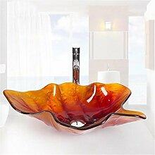 LUCKY CLOVER-A Badezimmer-Glaswaschbecken -