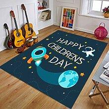 lucky coco Kinderzimmer Teppich, Cute Cartoon Blue
