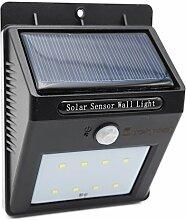 Lucky ssl 8 LED Kabellose Außenleuchte / Außenwandleuchte / Solarleuchte / Wand Solarlampe mit Bewegungsmelder und Dämmerungsschalter (Batterielos, Solarbetriebene,Umweltreundlich,Sicher, Energiesparend, Wasserfest) (schwarz)