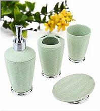 Luckyfree 4 Stück Kunststoff rundes Badezimmer Zubehör Set Bad-accessoires Zahnbürstenhalter, Lotion Flaschen, Seifenschale und Zahnputzbecher, Grün