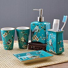Luckyfree 5-Stück Keramik Badezimmer Zubehör Sets grüner Vogel
