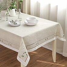 LUCKYHOUSEHOME Natürliche Nachahmung Leinen Stoff Blume Stickerei Tischdecken Tisch Schutzhülle für Party Home Hochzeit, Polyester, beige, 55 x 55 inches(140 x 140cm)