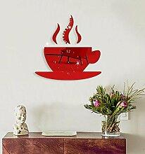 Ludage Wandbehang Kaffee-Haferl Wand Uhr DIY Acryl