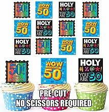 Ludique et coloré pour anniversaire 50 ans Chiffre XEDIBLE de 12 décorations de gâteau en gaufrette pour cupcakes
