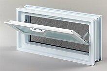 Lüftungsfenster / Fenster mit Fliegengitter für Einbau in Glasbausteinwand 384x189mm wird statt 2 Glassteine im Format 19x19x8 cm waagerecht eingebau