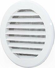 Lüftungsgitter Abschlussgitter rund Ø 100 mm weiß mit Insektennetz ABS Kunststoff schlagfest witterungsbeständig Insektenschutz Abluftgitter Garage Keller Wohnraum- Gitter