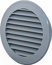 Lüftungsgitter Abschlussgitter rund Ø 125 mm grau mit Insektennetz ABS Kunststoff schlagfest witterungsbeständig Insektenschutz Abluftgitter Garage Keller Wohnraum- Gitter
