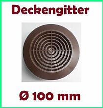Lüftungsgitter Deckengitter Abluft Zuluft Ablufthaube Insektenschutz braun Ø 100 mm T64br