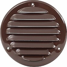 Lüftungsgitter Durchmesser 140 mm Metall braun mit Insektenschutz, Schrauben, Dübel