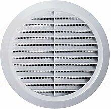 Lüftungsgitter Rund Insektennetz Abluftgitter Insektenschutz Kunststoff Ø 80 mm weiß