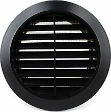 Lüftungsgitter Rund Insektennetz Abluftgitter Insektenschutz Kunststoff Ø 90 mm schwarz