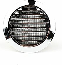 Lüftungsgitter Rund Insektennetz Abluftgitter Insektenschutz Kunststoff Ø 80 mm chrom