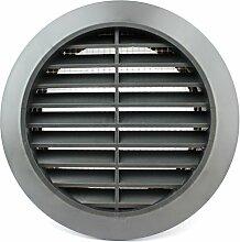 Lüftungsgitter Rund Insektennetz Abluftgitter Insektenschutz Kunststoff Ø 90 mm grau