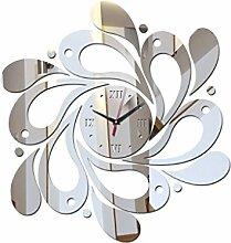 LUFA 3D Blume Spiegel Aufkleber Uhr DIY Mirrord