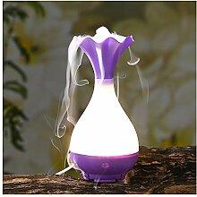 Luft Luftbefeuchter USB Diffusor Ultraschall Luft-Aroma-Nebel-Luftbefeuchter Luftreiniger Steam Zerstäuber LED Humidifier Aromatherapie Öle Diffusor LED Night Light (lila)