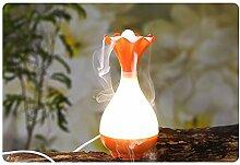 Luft Luftbefeuchter USB Diffusor Ultraschall Luft-Aroma-Nebel-Luftbefeuchter Luftreiniger Steam Zerstäuber LED Humidifier Aromatherapie Öle Diffusor LED Night Light (Orange)