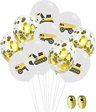 Luftballon-Set, 30,5 cm, bunt, Bagger, LKW,