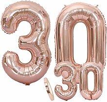 Luftballons Zahl 30 Geburtstag XXL Rose Gold -