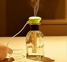 Luftbefeuchter Aromatherapie /280ml/ Glasflasche / Ultraschall Zerstäubung / /USB power Supply / mute / Strahlung / langfristige Befeuchtung / home / Office / Auto / Mini Luftbefeuchter , green