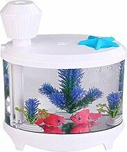 Luftbefeuchter, Gerhannery 460ml Aquarium USB Luftbefeuchter mit LED Licht gehen zu Hause, Büro, Yoga, Schlafzimmer und Schlafzimmer Baby (weiß)