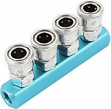 Luftschlauch 4-Wege-Pass anschließen Schnellwechsler Sockel Blauer Silber Ton