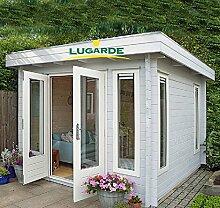 Lugarde Gartenhaus Kassel aus Fichtenholz NEU Blockbau mit Flügeltür und Flachdach