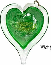 Luke Adams Glas-Geburtsstein-Herz, 7,6 cm Mai
