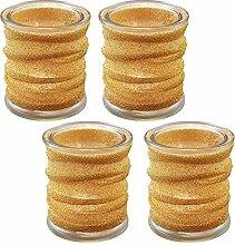Lumabase Glas-Kerzenhalter mit Stoffumwicklung,