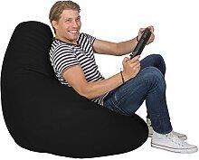 Lumaland Luxury stylischer Gaming Beanbag Lederimitat Sitzsack 230L Füllung Indoor Outdoor verschiedene Farben Schwarz