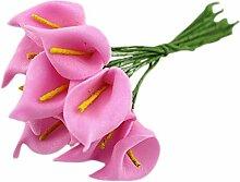 Lumanuby 1 Set Gefälschte Blumen PE Schaum Material Mini Fake flowers Anmutige Calla Lilie Form Design Simulations Blume Nettes Zubehör für die Dekoration Pralinenschachtel länge 9~10cm,Blumen Durchmesser 2.0cm,Rosa Farbe
