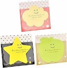 Lumanuby 3 Blocks Memo Pad, Nette Stern, Apfel und