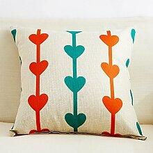 Lumbar Pillow The Sofa,Car Pillowcase,Fabrics Linen Cushion Pillow-B 45x45cm(18x18inch)VersionB