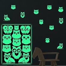 lumentics Eulen Leuchtaufkleber - Super stark im Dunkeln nachleuchtende Aufkleber. Fluoreszierende Uhu-Sticker für Kinderzimmer. Leuchtende Tier-Aufkleber und Uhu-Wandbilder. (DIN A4 Bogen, Grün)