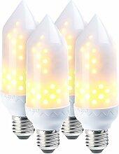 Luminea 4er-Pack LED-Flammen-Lampe mit