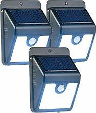 Luminea LED Aussenleuchte: 3er-Set Solar-LED-Wandleuchten mit Bewegungssensor & Nachtlicht, 50 lm (Wand-Solar-Nachtlicht)