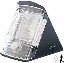Luminea Wand-Außenleuchte: LED Solar-Wandleuchte, 2x LED, IP44, PIR-Sensor, schwarz (LED-Solar-Außenlampe, tagesweiß)