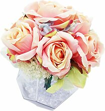Lumiphire Künstlicher Blumenstrauß mit Vase,