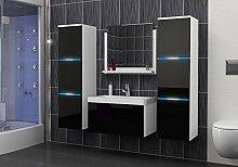 Luna Badmöbelset Badmöbel Badset mit Waschbecken und LED A02