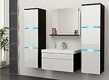 Luna Badmöbelset Badmöbel Badset mit Waschbecken und LED A07