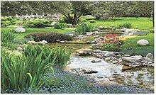 Lunarable Garten-Fußmatte, Gartenteich in Stil
