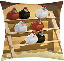 Lunarable Huhn Überwurf Kissen Kissenhülle Henne