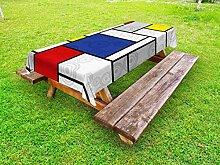 Lunarable Retro-Outdoor-Tischdecke, Mondrian