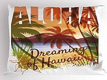 Lunarable Vintage Hawaii Kissen Sham, Aloha
