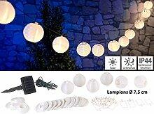 Lunartec Lampionkette: Solar-LED-Lichterkette, warmweiß, mit 20 weißen Lampions, 3,8 m, IP44 (Solarlampions)