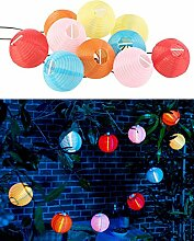 Lunartec LED Lampion Lichterkette: Stimmungsvolle Lichterkette (Rundkette), 5 m, mit bunten Mini-Lampions (Lampion Lichterkette Innen)