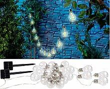Lunartec LED Lichterkette Außen: Solar-LED-Lichterkette im Glühbirnen-Look, 12 Birnen, 8,5 m, 2er-Set (LED Solar Lichterketten warmweiß)