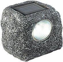 Lunartec LED Steine Garten: Solar-Gartenlicht Stein-Design mit stimmungsvoller Amber-LED (Selbstaufladende Solar-Leuchten)