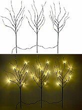 Lunartec Lichterzweige: 3 Deko-Zweige, je 48 Kunststoff-Knospen & 8 LEDs, batteriebetr., Timer (Lichterzweig anstatt Lichterkette, Weihnachtsbeleuchtung, Weihnachtsdeko, Weihnachts-Deko)